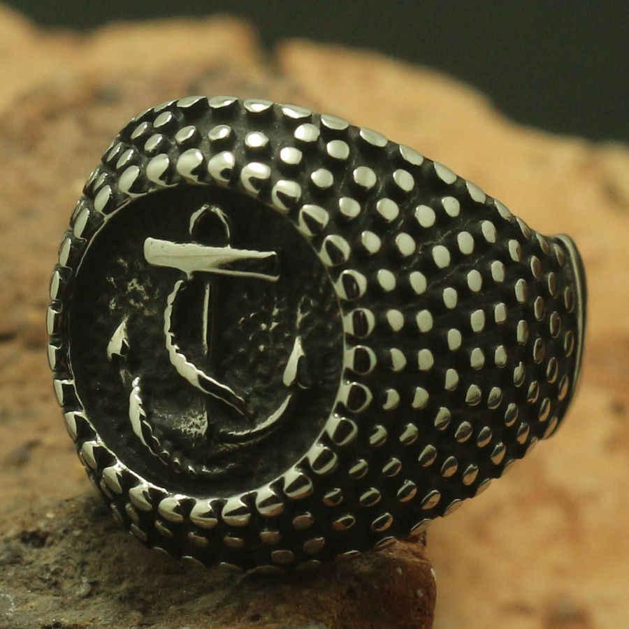 أحدث Designt الرجال الصبي بارد 316L الفولاذ المقاوم للصدأ الكلاسيكية مرساة ستار نقطة شريط خاتم أو حزب هدية
