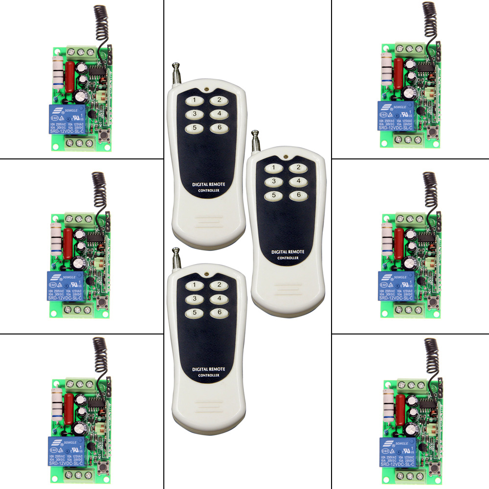 AC 220V 110V 1 CH 1CH RF Wireless Remote Control Switch System, ( 6CH Transmitter+6 Receiver),Toggle Momentary,315/433.92 new ac 220v 30a relay 1 ch rf wireless remote control switch system toggle momentary latched 315 433mhz