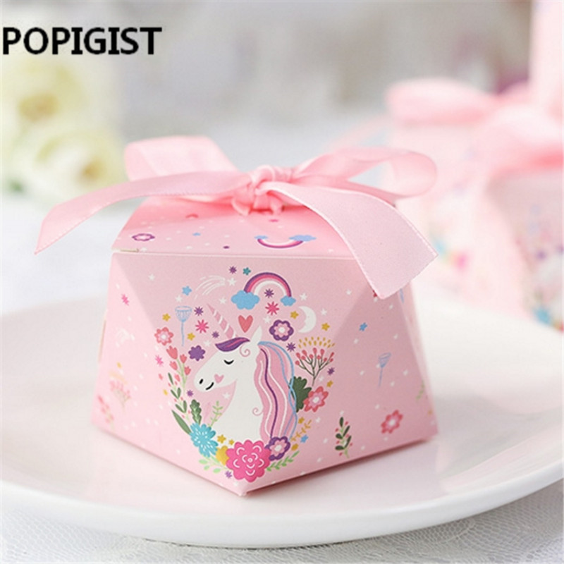 Unicorn theme Cartoon paper bags baby shower souvenirs gift candy boxs birthday party decorations event party supplies 50pcs