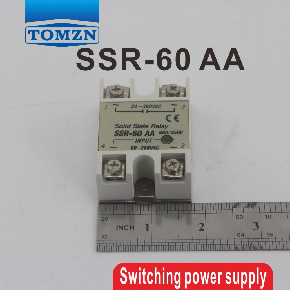60AA SSR input 80~250 AC load 24-380V AC single phase AC solid state relay high quality ac ac 80 250v 24 380v 60a 4 screw terminal 1 phase solid state relay w heatsink