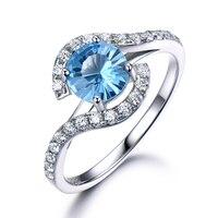 Topaz Engagement Ring 14k White Yellow Rose Gold Round Cut Diamond Wedding Band Unique Women Anniversary