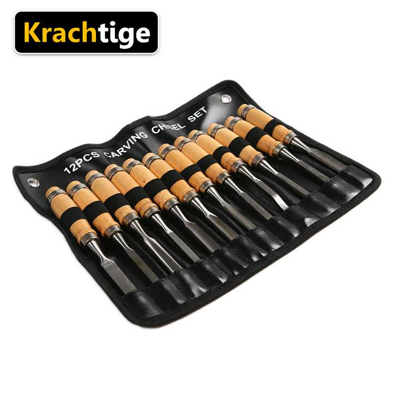 12Pcs Wood Carving Hand Chisel Tool Set Woodworking Professional Gouges New