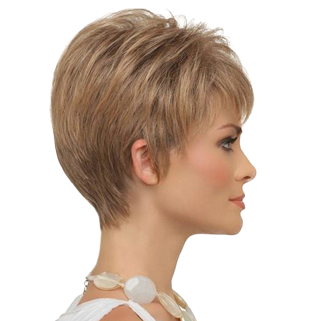 8 inch Short Straight Wigs Human Hair Pixie Cut Chic Wig for Women w/ Bangs Brown inclined bang short layered straight colormix human hair wig