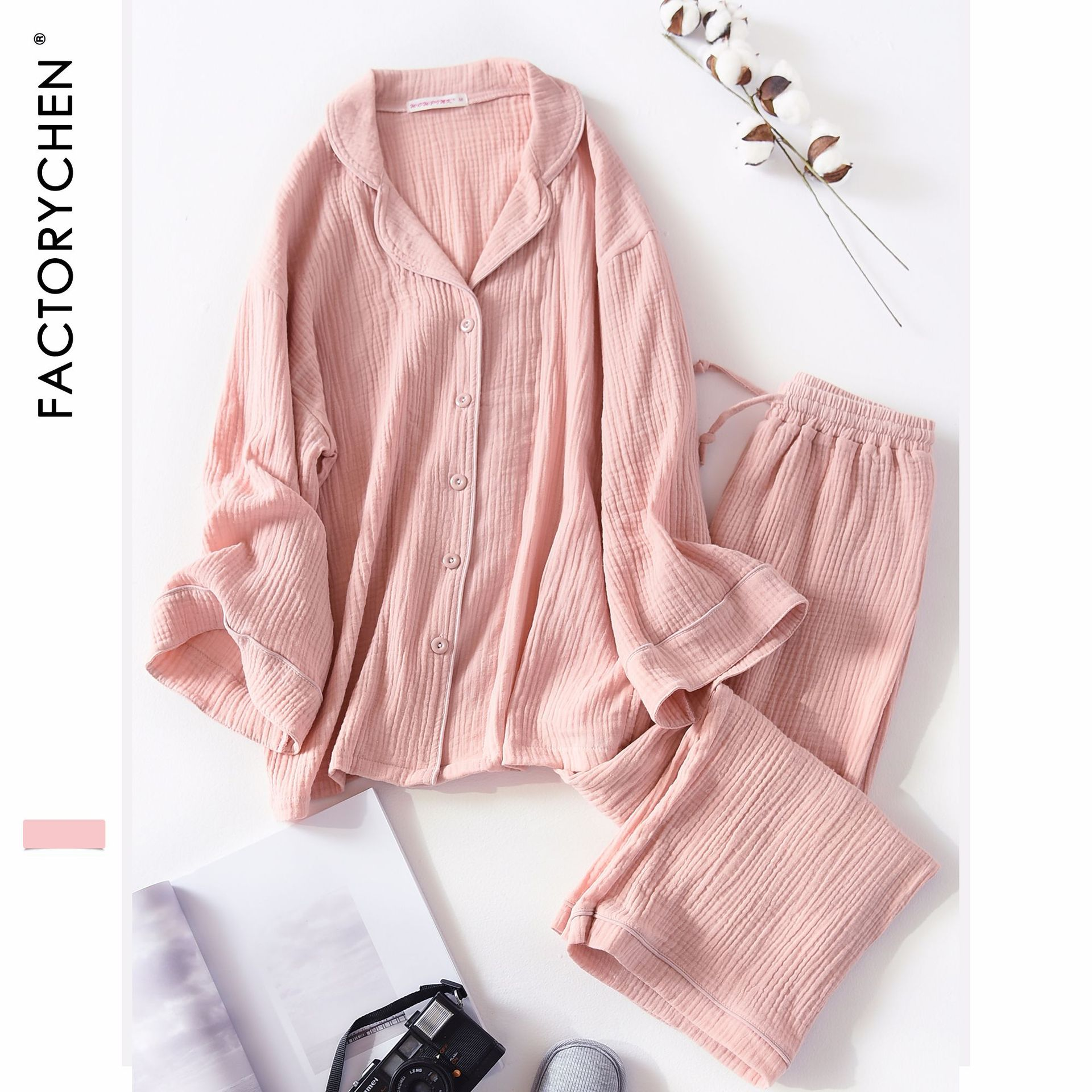 New Spring&autumn Loose Lazy Soft Fold Cotton Lapel Suit Women Long Sleeve Sexy   Pajamas     Set   Female Night Gown Home Sleepwear   Set