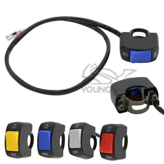 "1 unidades 7/8 ""22mm motocicleta interruptor en OFF manillar montaje ajustable interruptores impermeables 4 colores botón DC12V 10A para faros"