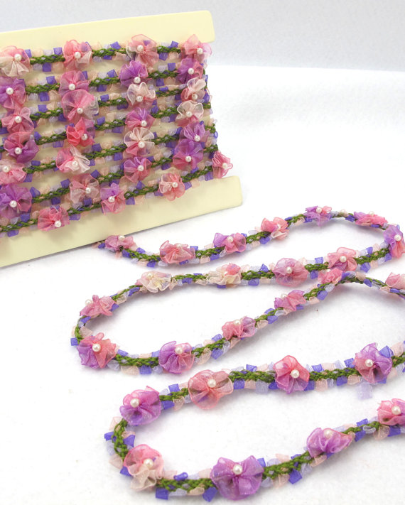 2 Yards Woven Rococo Ribbon Trim with Purple Ombre Flower BudsDecorative Floral RibbonScrapbook MaterialsClothingDecorCraft