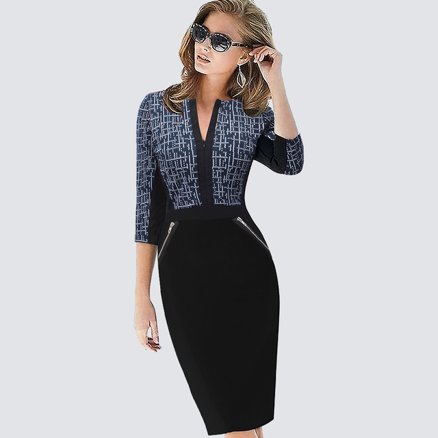 Plus Size Women Autumn Work Office Business Colorblock Pencil Dress Casual  Front Zipper Patchwork Sheath Bodycon Dress 837 e099eb3b41e3