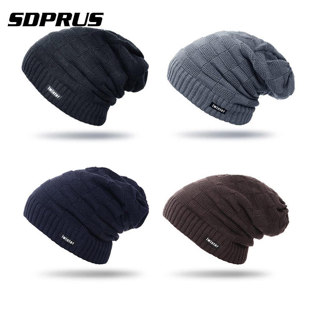 SDPRUS 1PC Winter knitting Hats Beanie Cap Warm Hat Head Caps Cozy wool Cap Men Women Sport Fleece Hiking climbing Snowboard