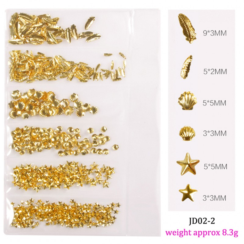 1Bag Gold Metal Nail Studs Charms Mixed Starfish Shell Feather Design Frame Alloy Rivet 3D Nail Art Decoration Accessories 03JD in Rhinestones Decorations from Beauty Health