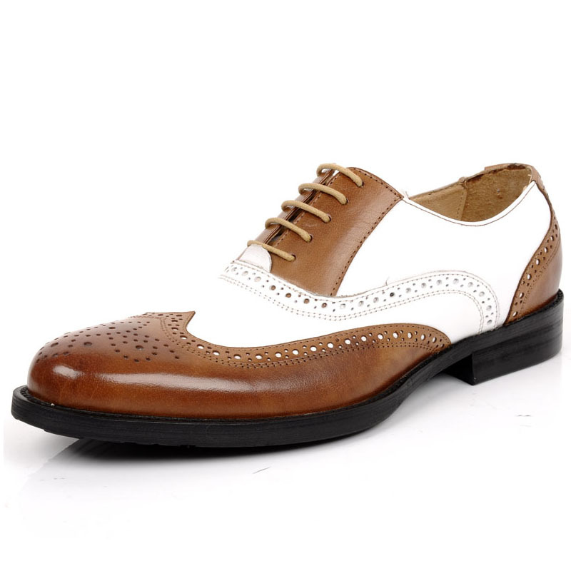 Large Size Eur Size 45 Black White Brown Stitching Mens Wedding Shoes Genuine Leather Dress Shoes Formal Oxfords Shoes JMH-A0038