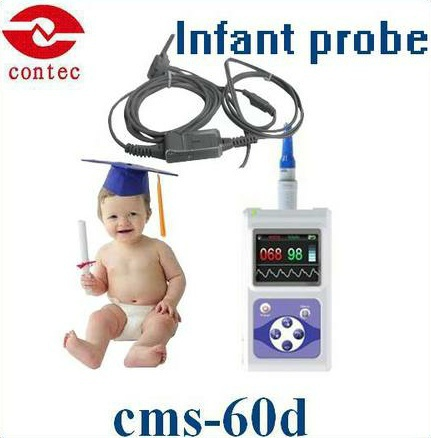 Oximetro de dedo Infant SPO2 Monitor& pulse oximeter with free software and larger color screen cms 60d+Free Shipping