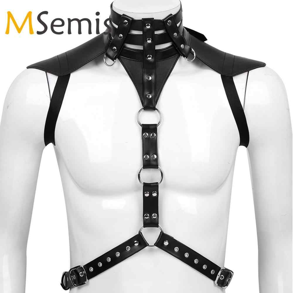 Mens Harness Faux Finimenti di Cuoio Degli Uomini bdsm Bondage Gay Arnes Hombre Regolabile Fibbie Corpo Chest Harness Cintura Costume di Fantasia