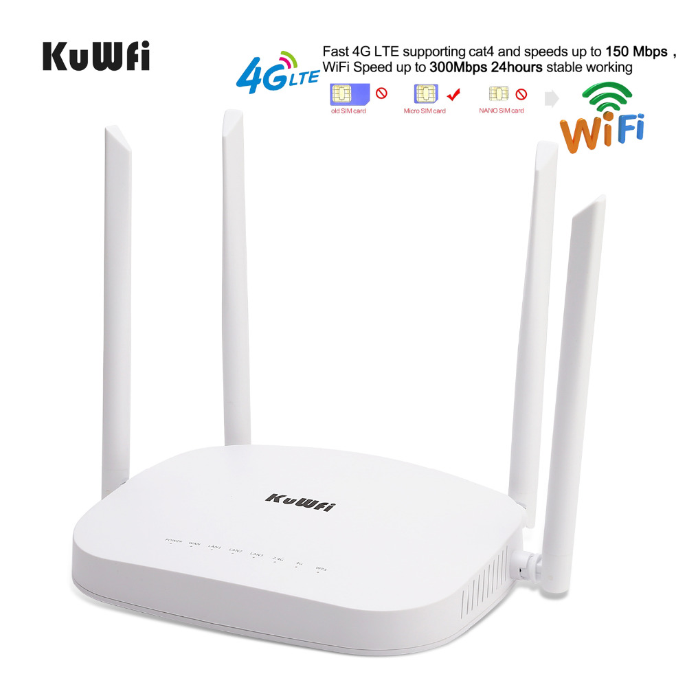 Kuwfi 4G LTE Wifi Router, 300Mbps 3G/4G Wireless CPE Router With Sim Card Slot Support 4G To LAN Device With 4pcs External Anten