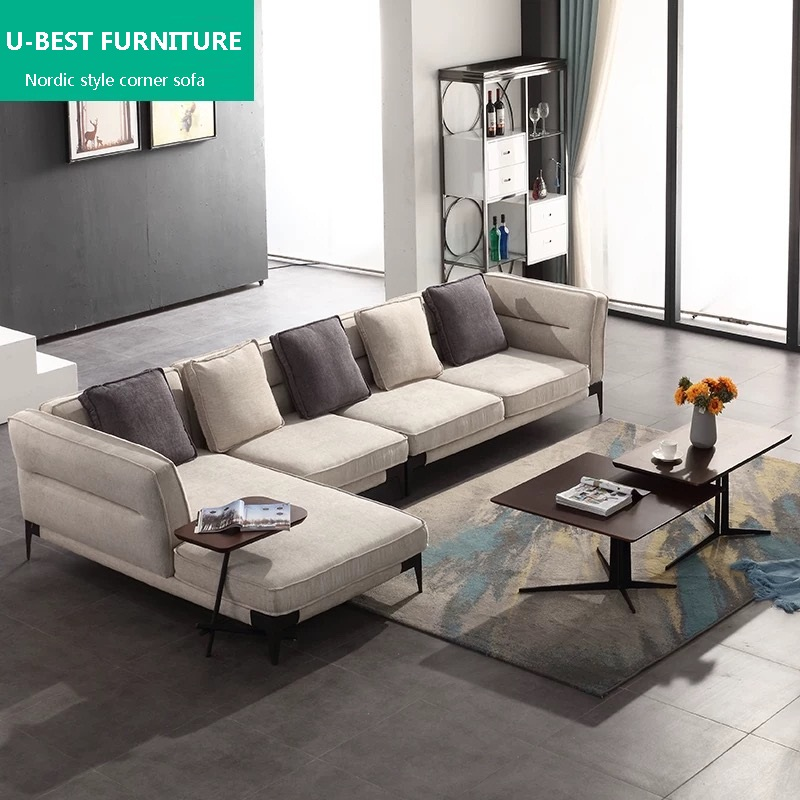 U-BEST sectional simple style Nordic Latex Metal Frame Washable L Shape fabric corner sofa