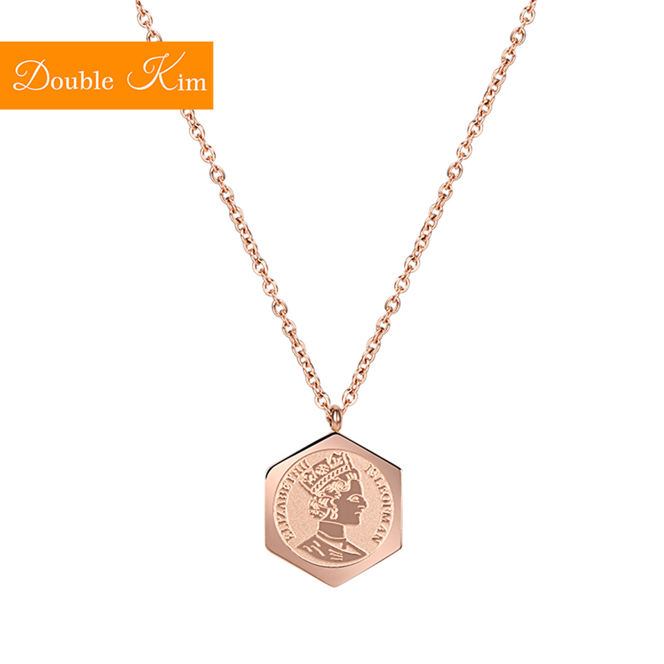 Elizabeth Pendant Necklace Titanium Stainless Steel Chain Fashion Trendy Women Jewelry Best Birthday Gift Dropshipping