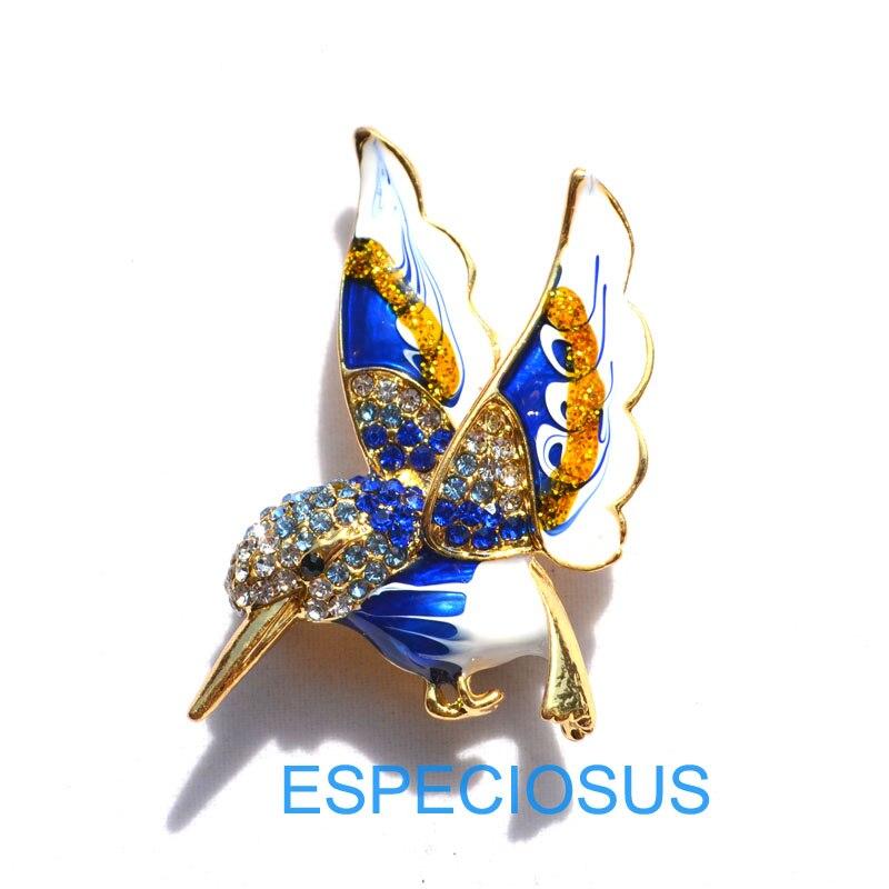 Элегантная булавка золотого цвета, Женская Брошь, стразы, подарки, мультфильм, жужжащая птица, нагрудная булавка, аксессуары, ювелирные изделия, четыре цвета, окрашенные - Окраска металла: blue