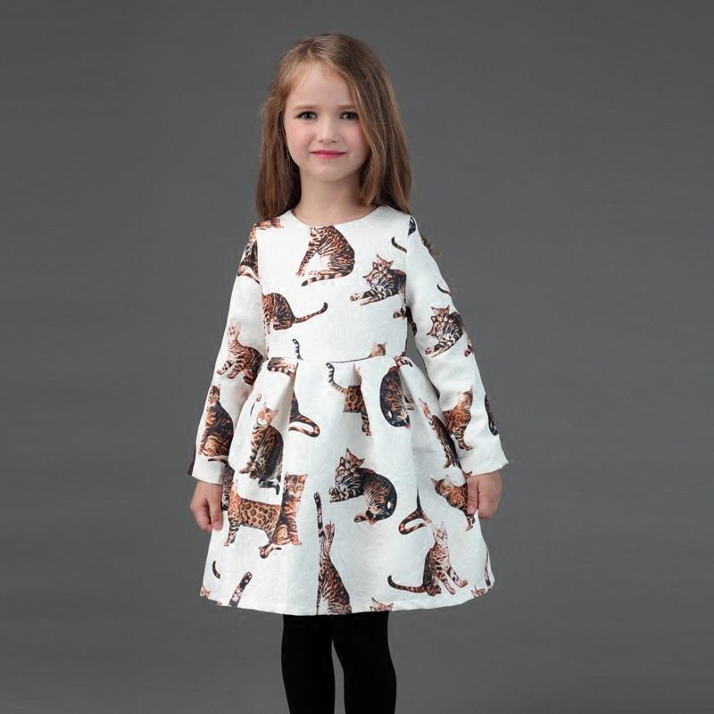 Зимняя семейная детская одежда кошки печати теплый Flano внутри мама для малышей нарядное платье для девочек Для мамы и дочки торжественное п...
