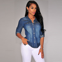 Casual Denim Ladies Shirts Women Denim Blouse Shirts Long Sleeve Double Pocket Women Casual Shirt Jeans
