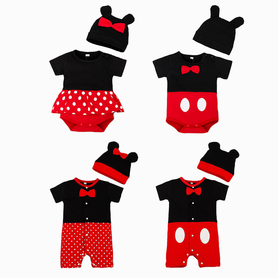 Newborn Unisex Baby Clothes Red Dot Body Suits Festival Jumpsuit Set 2 pcs Cosplay Outfits One-Piece with Ear Hat   Romper   Onesie