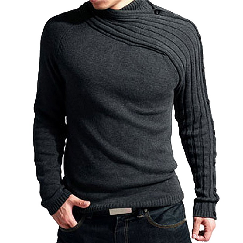 Autumn Turtleneck Sweater Men Brand Fashion Solid Knitting Sweater Male Casual Striped Slim Fit Pullover Homme 2018