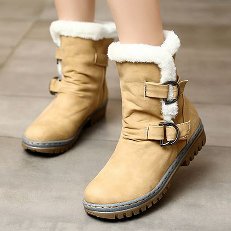 Fashion Winter Boots Women Snow Boots Flat Heels Winter Shoes Warm Fur Boot Mid-Calf Spring Autumn Women's Shoes Plus Size 34-43 2016 new warm snow boots women plush winter mid calf boots fashion wedding shoes brand lady botas flat shoes