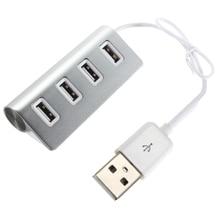 Высококачественного Алюминиевого Синий светодиодный Мини 4 Портовый КОНЦЕНТРАТОР Высокой Скорости USB 2.0 Splitter Адаптер Hub с Кабелем Для Macbook Портативных ПК