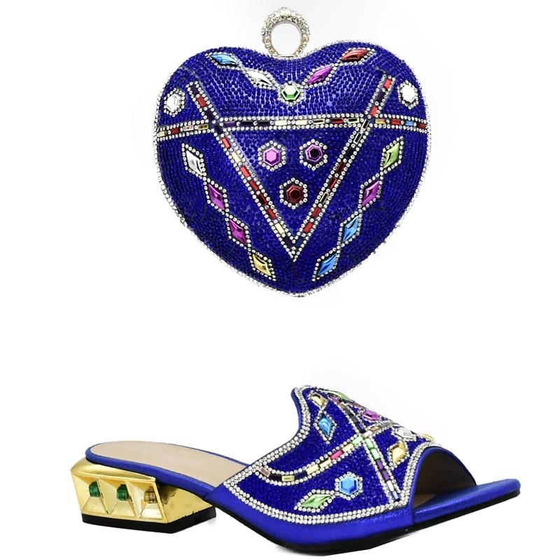 Chaussures 2017 fuchsia bleu Avec Strass Italien Nigérian Sac pourpre Mariage Ruban Royal Or Femmes Nouveau Ensemble Décoré De Et sliver Couleur taq1H1wOx
