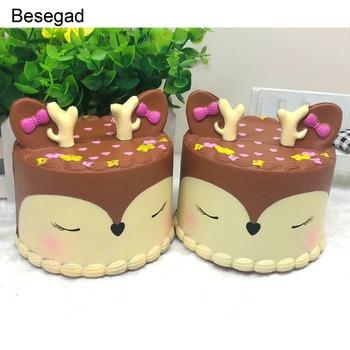 Besegad Jumbo Squishies милая мягкая игрушка для торта с оленем Kawaii медленно поднимающаяся сжимаемая игрушка для детей и взрослых снимает стресс