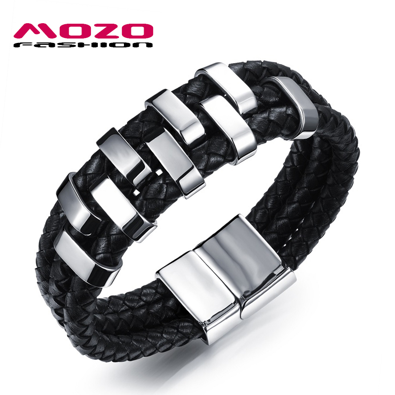 MOZO FASHION Men Jewelry Black Multilayer Leather Bracelet Stainless Steel Magnetic Clasp Wristband Man Vintage Bracelet PS1018 стоимость