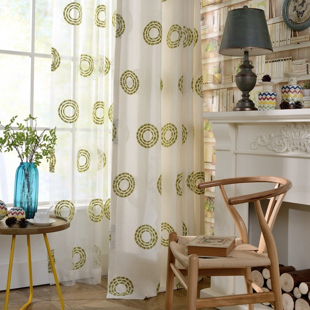 Embroidered Sheer Curtains Circle Quality Window Curtain For Living Room Bedroom Screen Volie Tulle