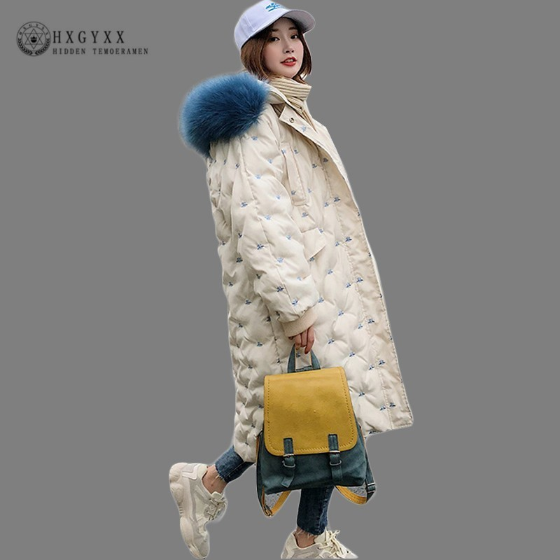 Winter Women Hooded Coat Blue Fur Collar Thick Warm Long Quilted Jacket Embroidery   Parka   Female Plus Size Outwear 2019 Okd524