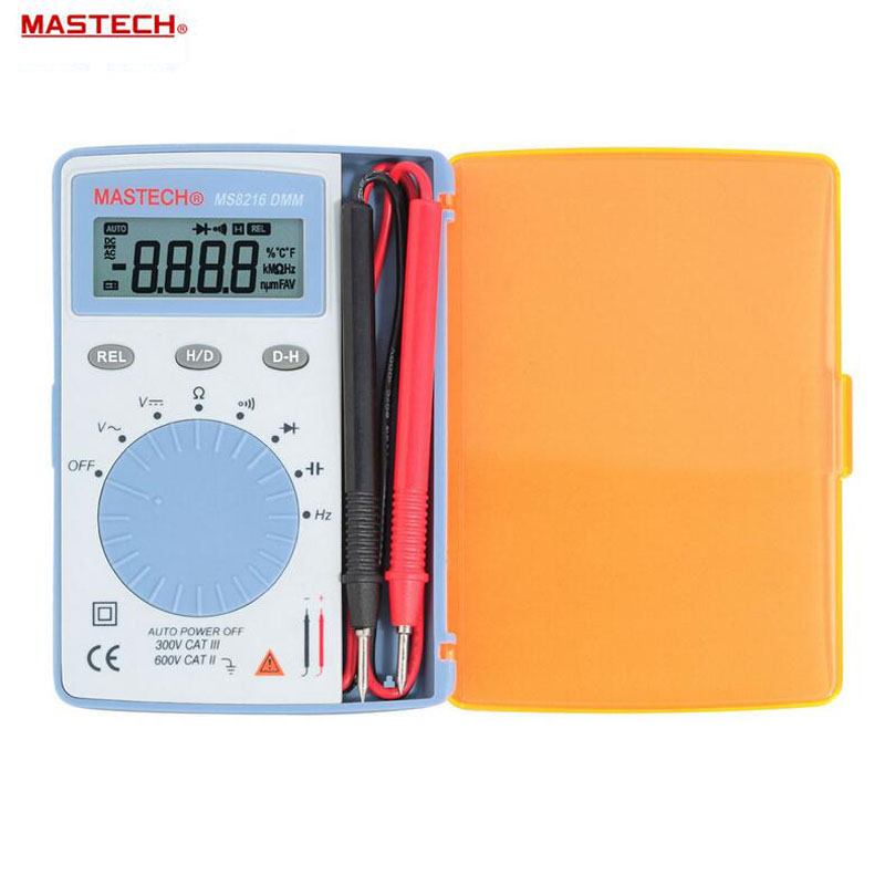 MASTECH MS8216 pocket Digital Multimeter data hold 4000 Counts Autoranging LCD AC/DC Voltage DMM Tester Detector with Diode mastech ms8260f 4000 counts auto range megohmmeter dmm frequency capacitor w ncv