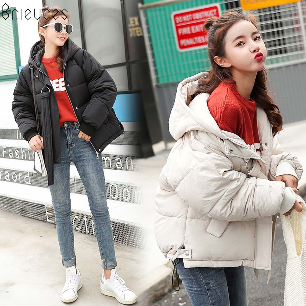 Brieuces 2018 New style Casual Short Solid Autumn Winter Women's Jacket Winter Women Cotton-Padded Coat Thicken Warm Down   Parkas