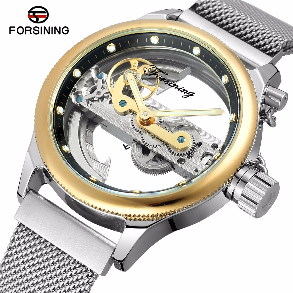 FORSINING Transparent Hollow Skeleton Mechanical Watch Men Silver Mesh Stainless Steel Self Wind Automatic Watch Men Gold k colouring women ladies automatic self wind watch hollow skeleton mechanical wristwatch for gift box