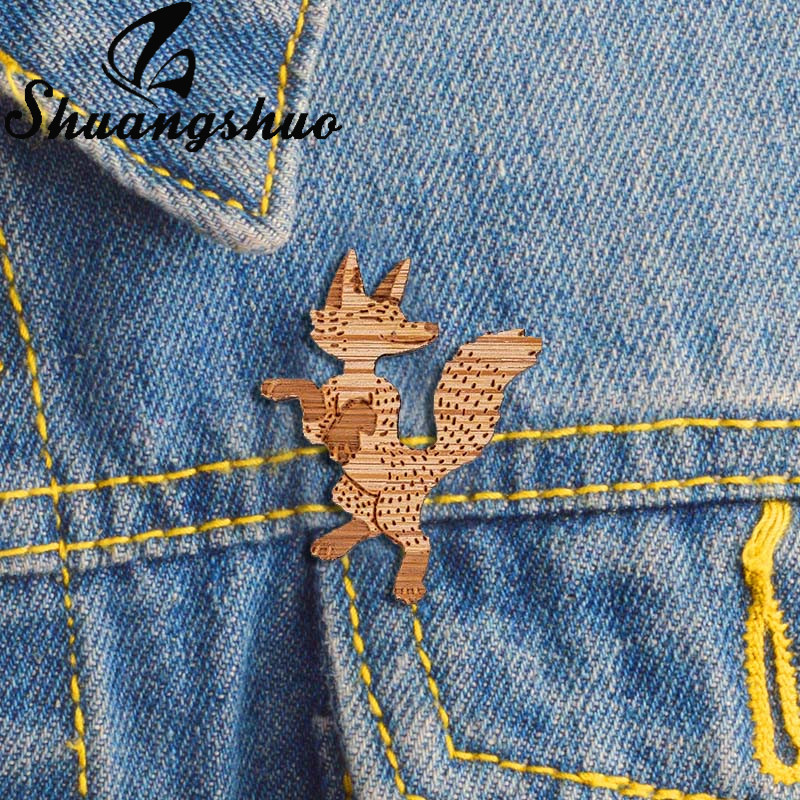 Dancing Fox Pin Badge Wood Brooch