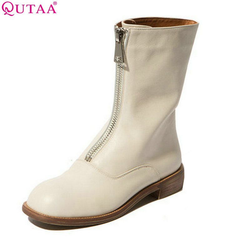 QUTAA White 2016 Genuine Leather Women Shoes Square Low Heel Ankle Boots Zipper Round Toe Women Motorcycle Boots Size 34-39 99 9