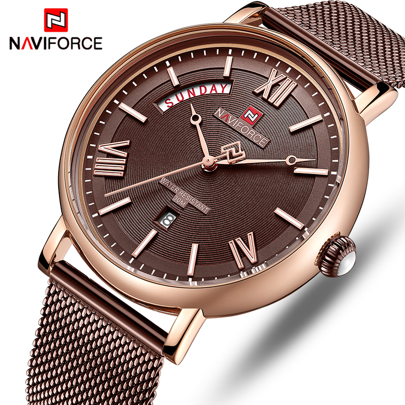NAVIFORCE Watch Men Fashion Business Watches Men's Casual Waterproof Quartz Wristwatch Stainless Steel Mesh Relogio Masculino