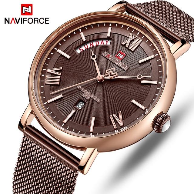 NAVIFORCE Watch Men Fashion Business Watches Mens Casual Waterproof Quartz Wristwatch Stainless Steel Mesh Relogio Masculino