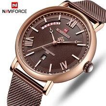 นาฬิกา NAVIFORCE นาฬิกาผู้ชายนาฬิกาแฟชั่นผู้ชายลำลองนาฬิกาข้อมือควอตซ์กันน้ำสแตนเลสตาข่าย Relogio Masculino