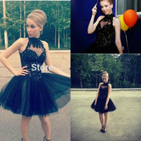 Elegant A Line Tulle Black Homecoming Dresses 2017 Off Shoulder High Neck Party Dress for Graduation Custom Made Short Prom Gown