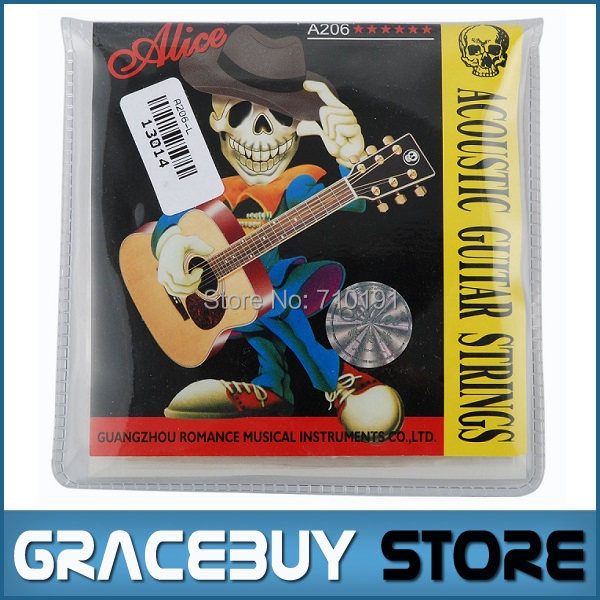 Alice Acoustic Guitar Strings 20 sets / lot Wholesale A206-L Stainless Steel 6 Strings Set ( 012 - 053) , Free Shipping