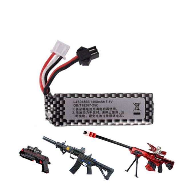 Airsoft Lipo battery 7.4V 1400mah lipo battery Air gun electric water pistol lithium battery toy gun accessories 1