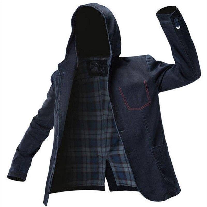 2018 Новое поступление Для мужчин Костюмы Для мужчин с капюшоном джинсовая куртка человек на открытом воздухе повседневные джинсы куртки и п...