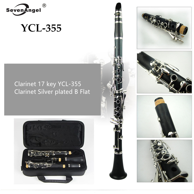 Japan Clarinet 17 key YCL-355 Clarinet Silver plated Bb Klarinet Bakelite Clarinet With Case Two Pairs Of Main Expor