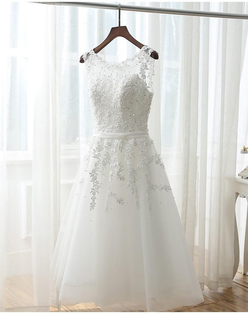 CustomVestido De Noiva pas cher automne Robe pour Mariage perles De plage perles transparent dos Banquet fête robes De mariée Robe De Mariage