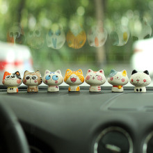 Car Interior Ornament Cute Cartoon Cat Mini Decorations for Dashboard Adornment Creative Lovely Ceramics Cats