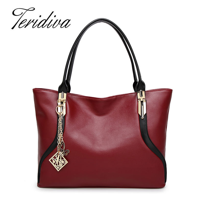 Teridiva High Quality PU Leather Women Shoulder Bags Big Tote Bag Large Capacity