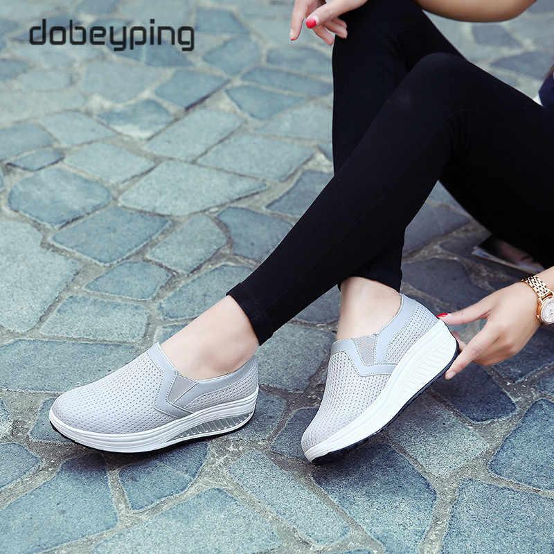 Kadın salıncak ayakkabı hava Mesh kadın loafer'lar düz platformlar kadın ayakkabı rahat takozlar bayanlar ayakkabı yüksekliği artan ayakkabı