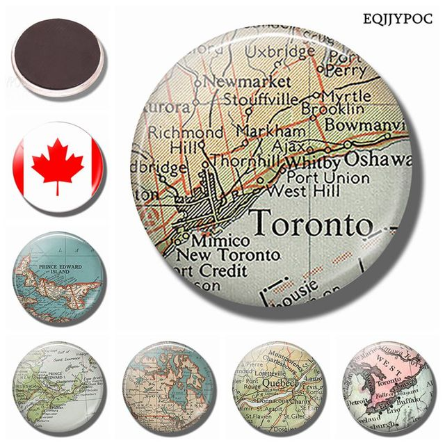 Toronto Canada Vintage Map 30MM Fridge Magnet West Hill Map Glass ...