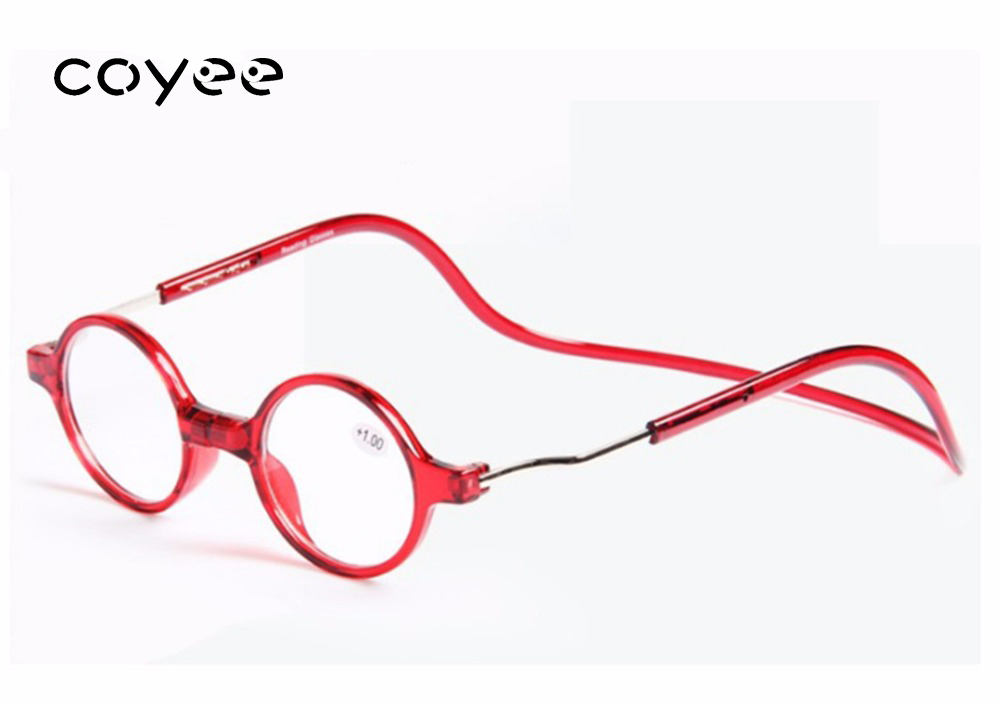 Coyee Magnet hanging neck Round red reading glasses for reader Brand New +1.00 to +4.00  ...